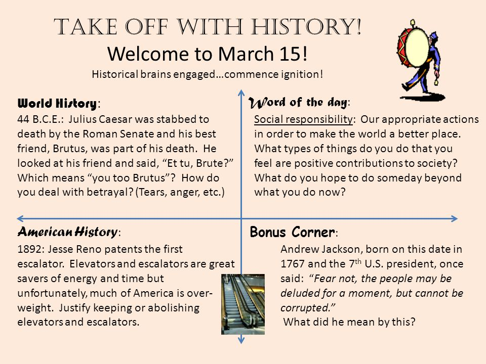 Take off with history! Welcome to March 15! Historical brains engaged…commence ignition! World History : American History : Word of the day : Bonus Co