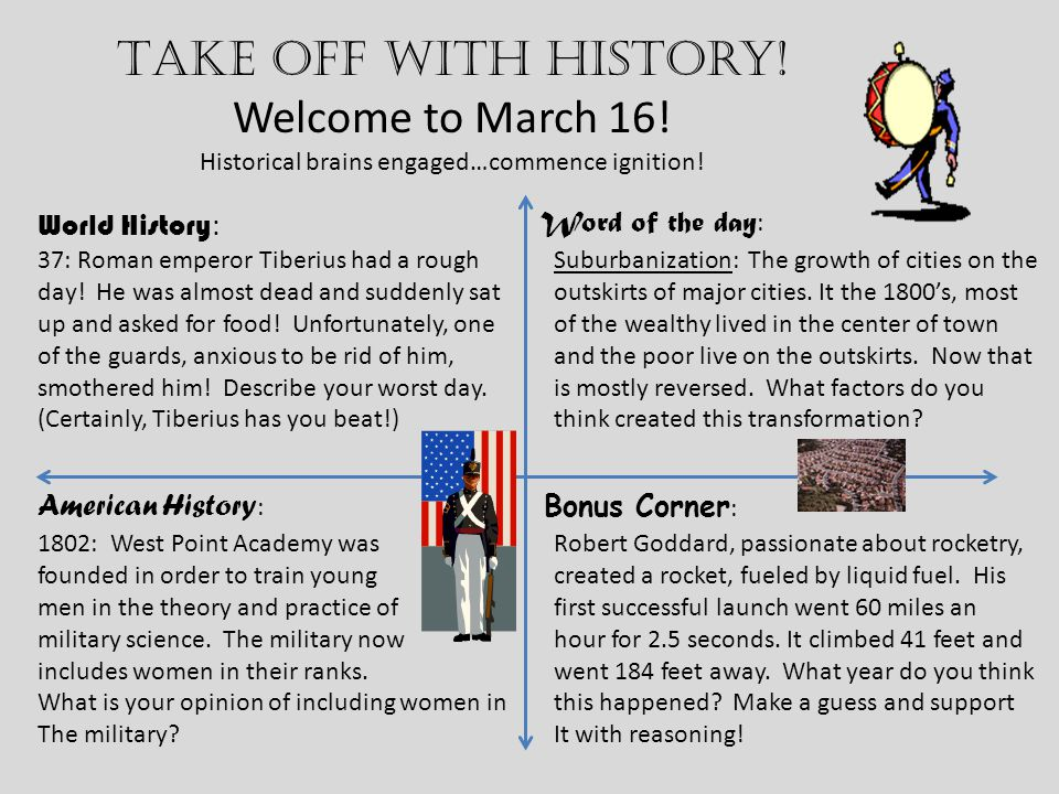 Take off with history! Welcome to March 16! Historical brains engaged…commence ignition! World History : American History : Word of the day : Bonus Co