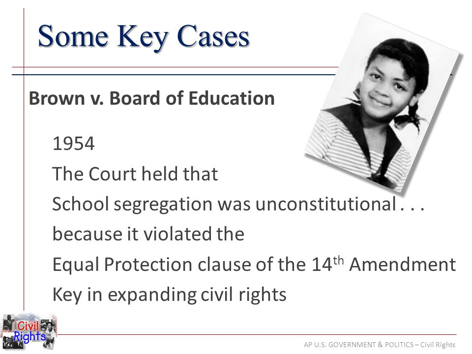 AP U.S. GOVERNMENT & POLITICS – Civil Rights Some Key Cases Brown v. Board of Education 1954 The Court held that School segregation was unconstitution