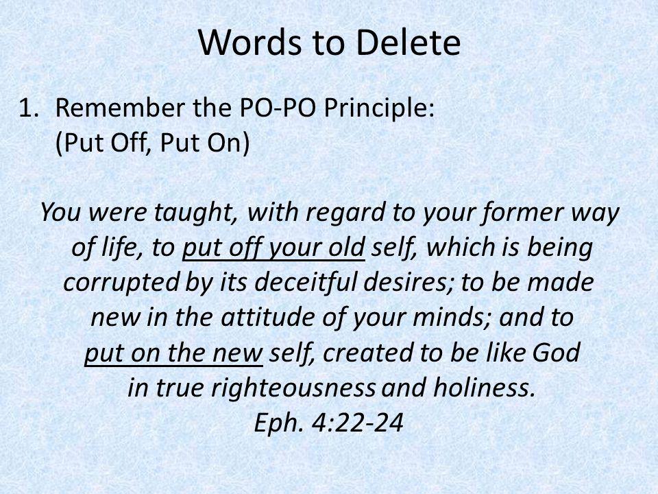 Delete Arrogant Words 1.Arrogant words… Exalt us over others Look down on others Make us look impressive The Cost of Arrogance: Rebuke and Cursing by God Ps.