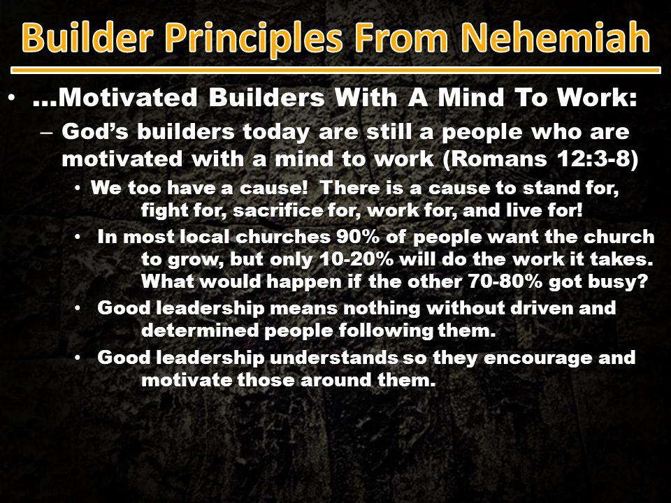 …Motivated Builders With A Mind To Work: …Motivated Builders With A Mind To Work: – God's builders today are still a people who are motivated with a m
