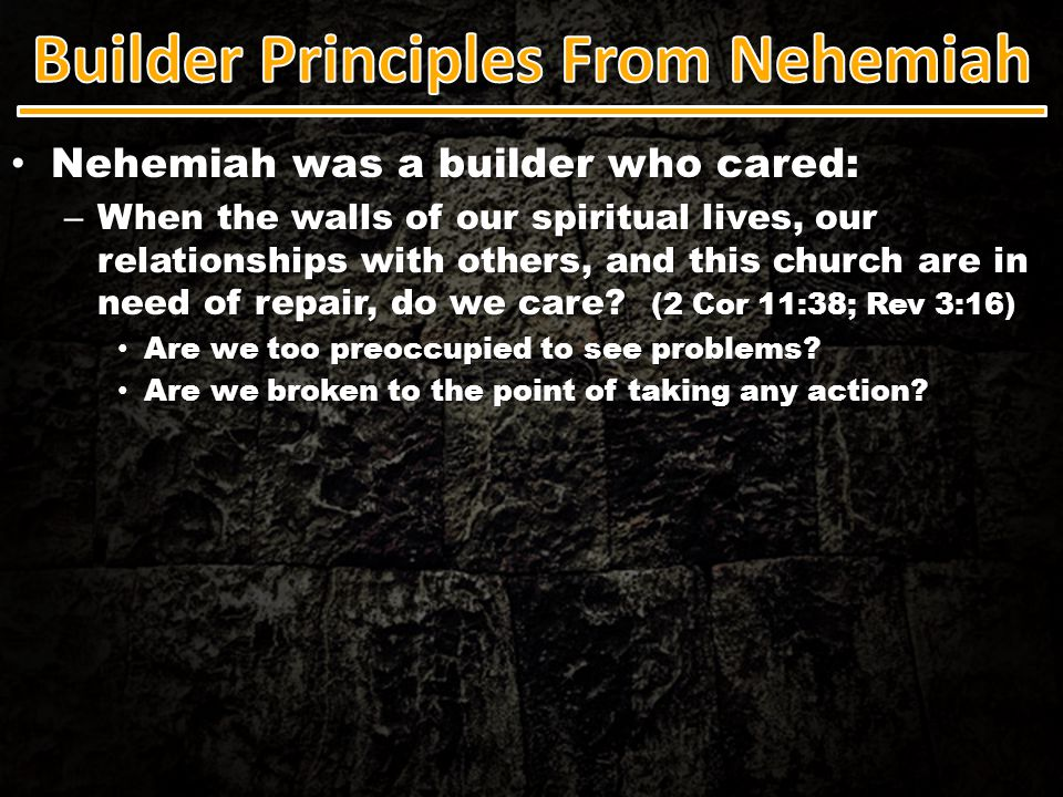 …A builder who stood uncompromisingly & passionately for truth & righteousness: …A builder who stood uncompromisingly & passionately for truth & righteousness: – God's builders are people who are able to get worked up about things.