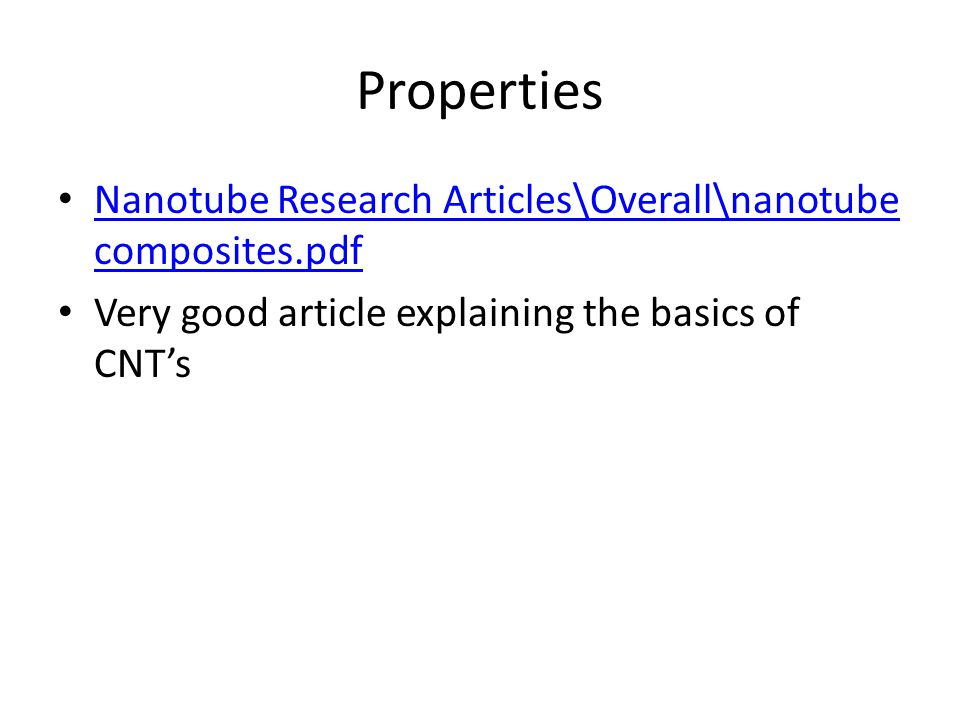 Nanotube Research Articles\Overall\nanotube composites.pdf Nanotube Research Articles\Overall\nanotube composites.pdf Very good article explaining the basics of CNT's