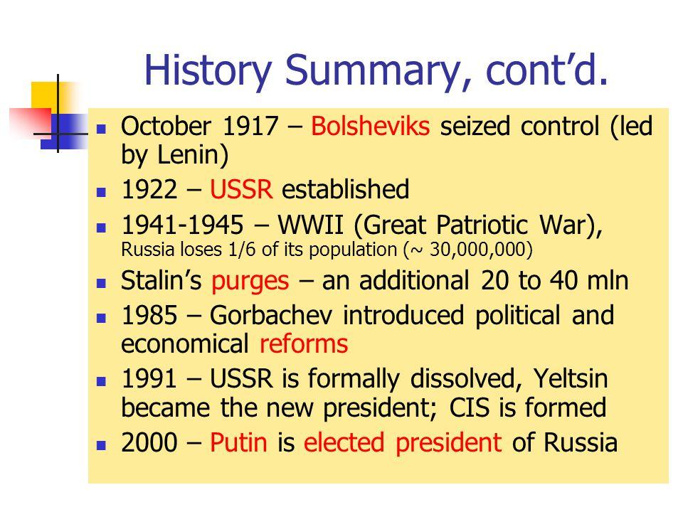 History Summary, cont'd.