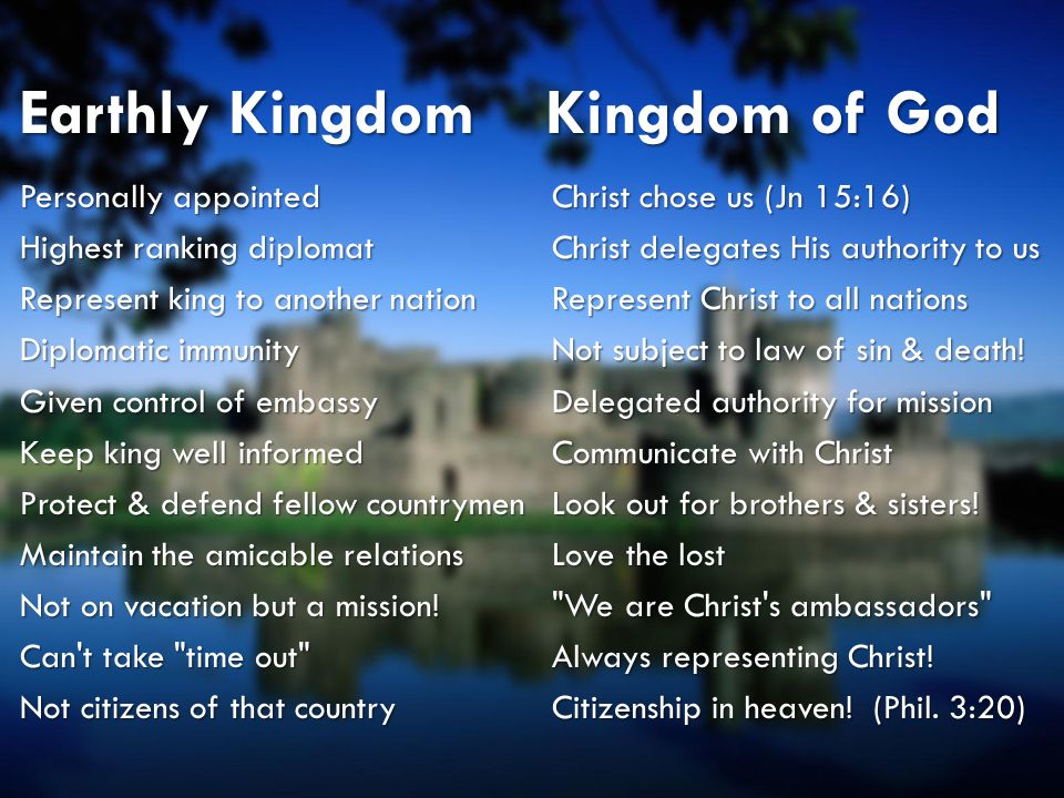 Ambassador Characteristics Property of the kingWe are God s possession (Eph 1:13)