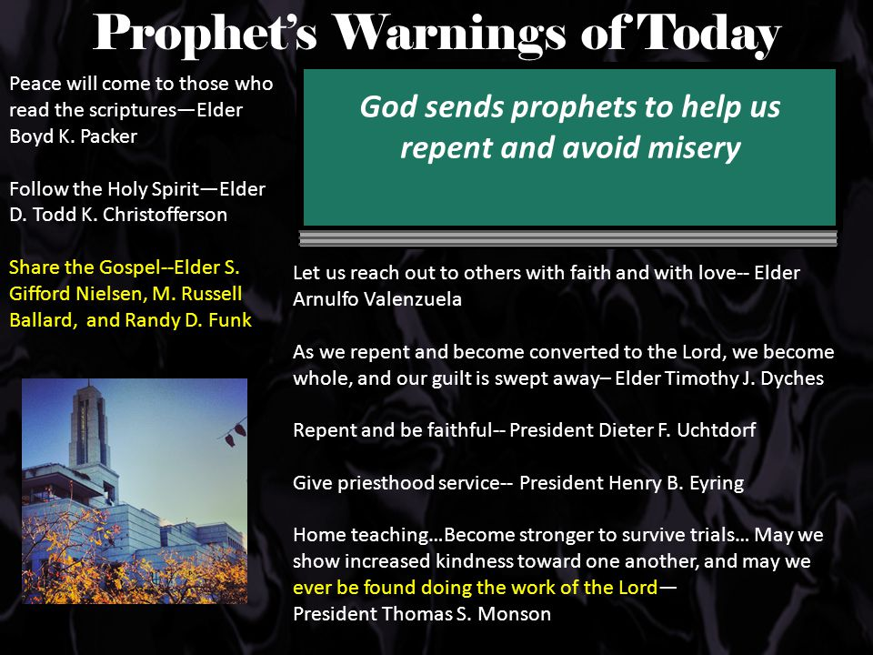 Prophet's Warnings of Today Peace will come to those who read the scriptures—Elder Boyd K.