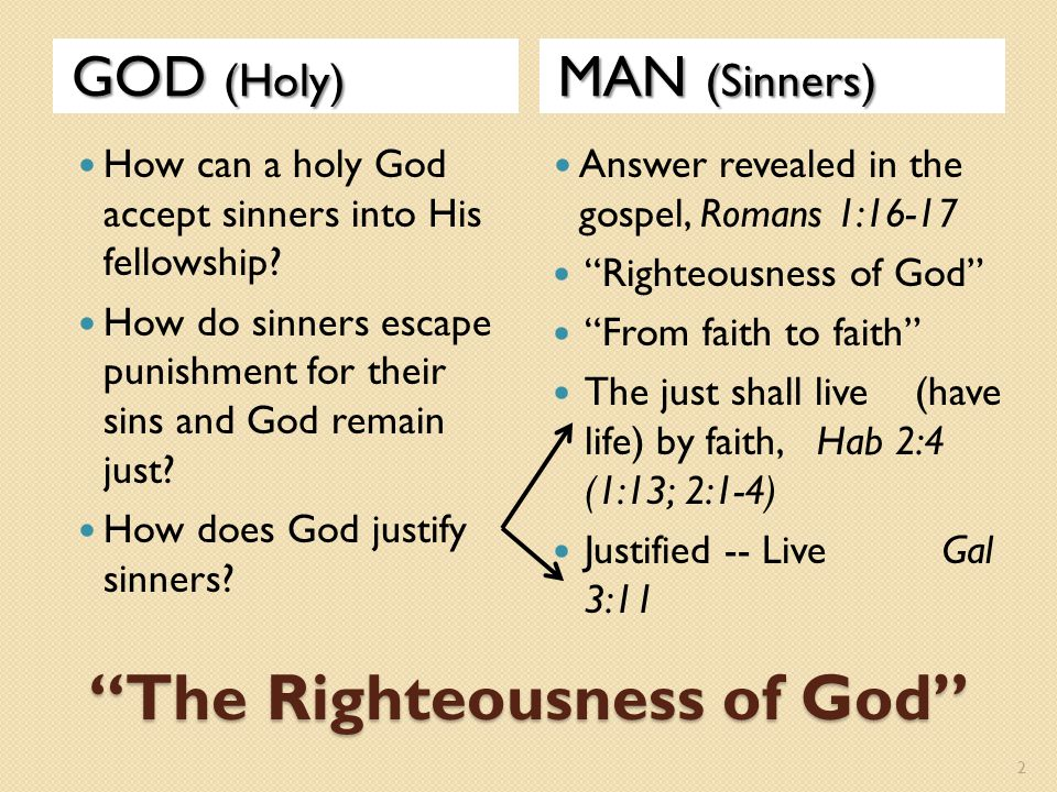"""The Righteousness of God"" GOD (Holy) MAN (Sinners) How can a holy God accept sinners into His fellowship? How do sinners escape punishment for their"