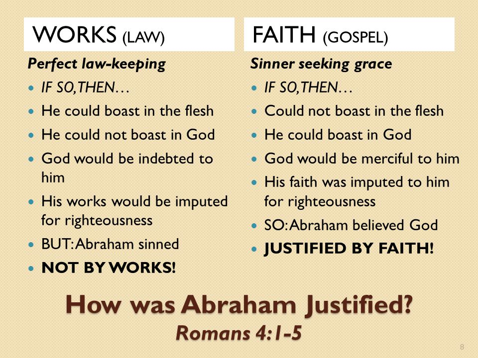 How was Abraham Justified? Romans 4:1-5 WORKS (LAW) FAITH (GOSPEL) Perfect law-keeping IF SO, THEN… He could boast in the flesh He could not boast in