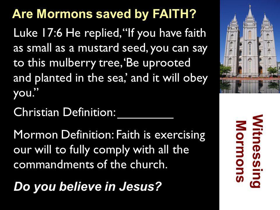 """Are Mormons saved by FAITH? Luke 17:6 He replied, """"If you have faith as small as a mustard seed, you can say to this mulberry tree, 'Be uprooted and p"""