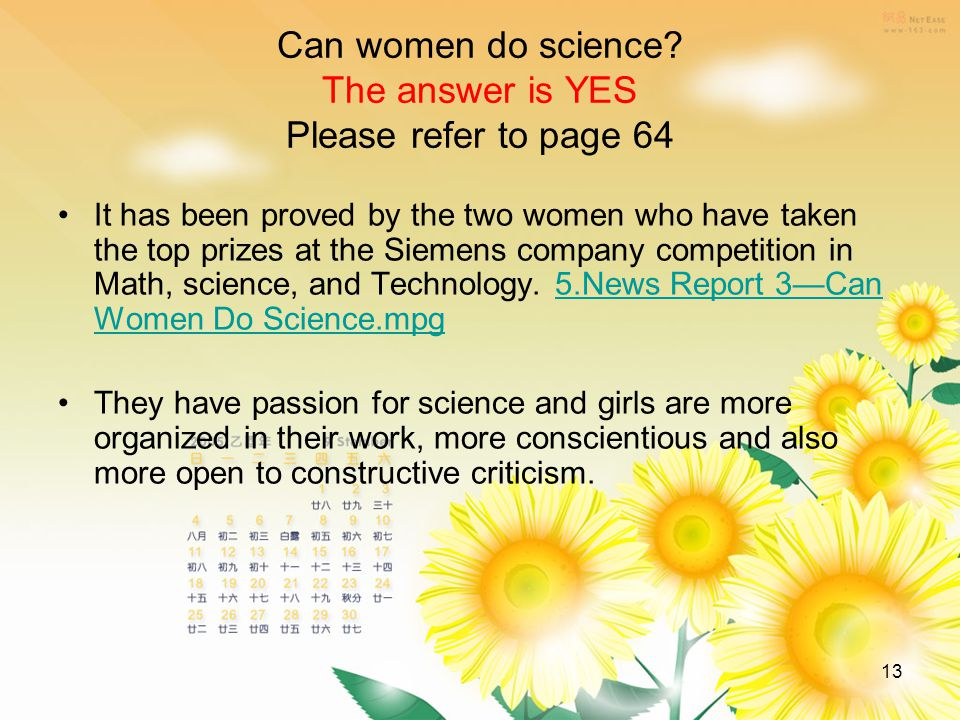 13 Can women do science.