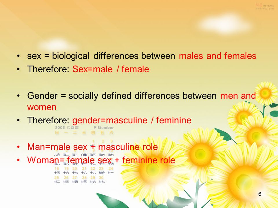 6 sex = biological differences between males and females Therefore: Sex=male / female Gender = socially defined differences between men and women Therefore: gender=masculine / feminine Man=male sex + masculine role Woman= female sex + feminine role