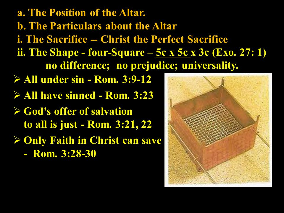 a. The Position of the Altar. b. The Particulars about the Altar i. The Sacrifice -- Christ the Perfect Sacrifice ii. The Shape - four-Square – 5c x 5
