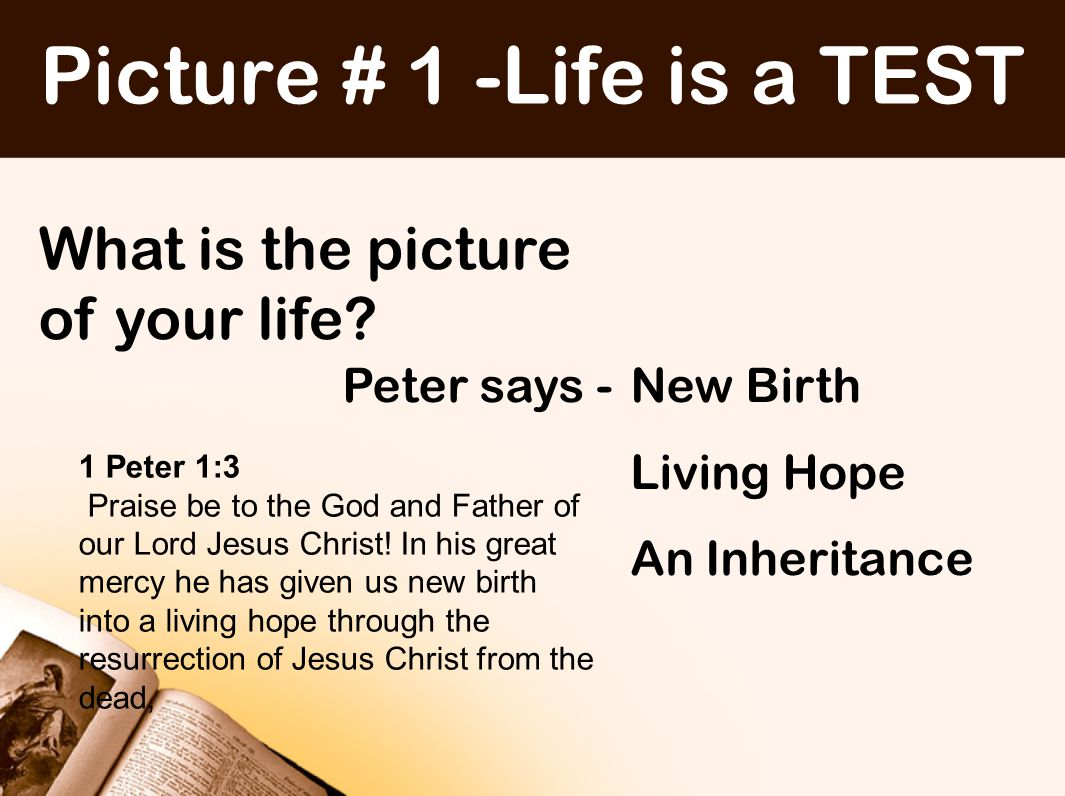Picture # 1 -Life is a TEST Life is a TEST God Tests his people Characterlove Faithintegrity ObedienceLoyalty Various words used: Tests Temptations refining