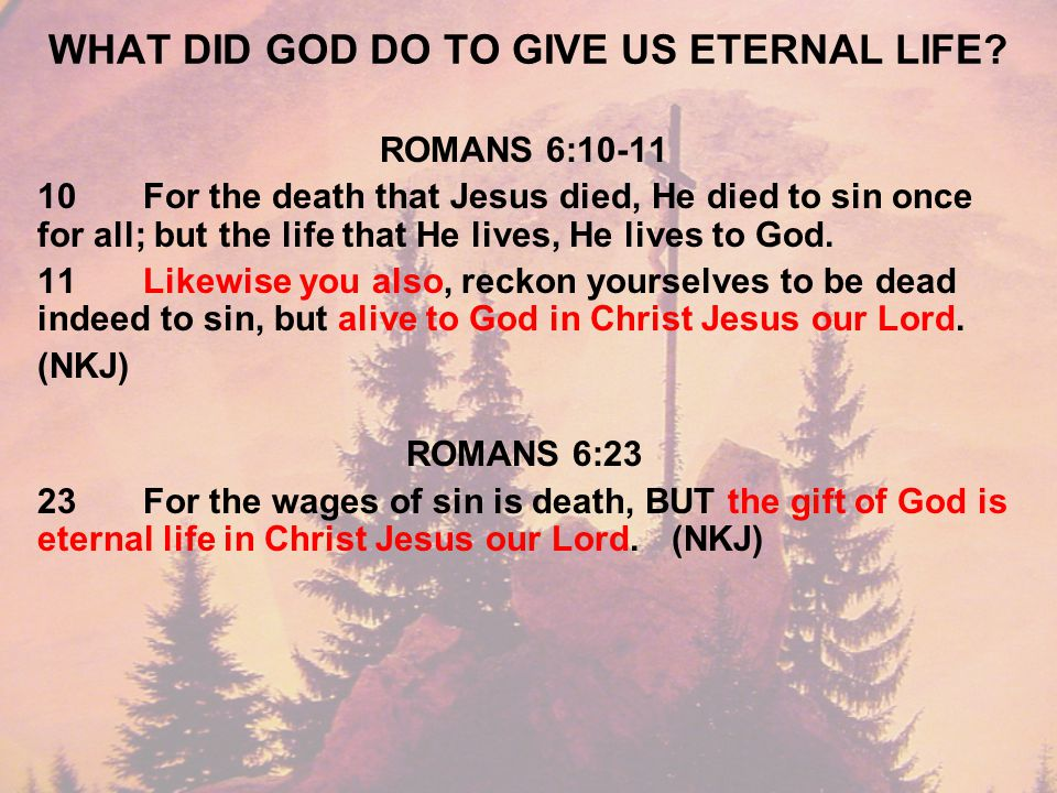 WHAT DID GOD DO TO GIVE US ETERNAL LIFE.