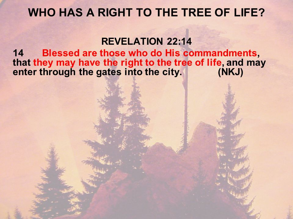 WHO HAS A RIGHT TO THE TREE OF LIFE.