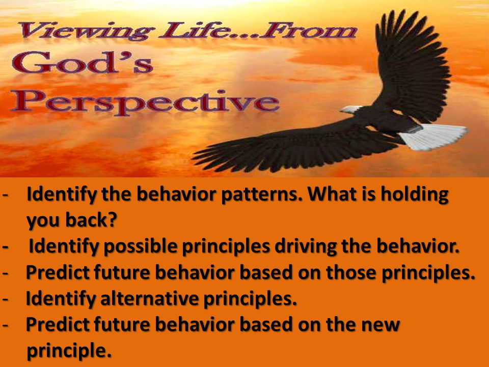 -Identify the behavior patterns. What is holding you back.