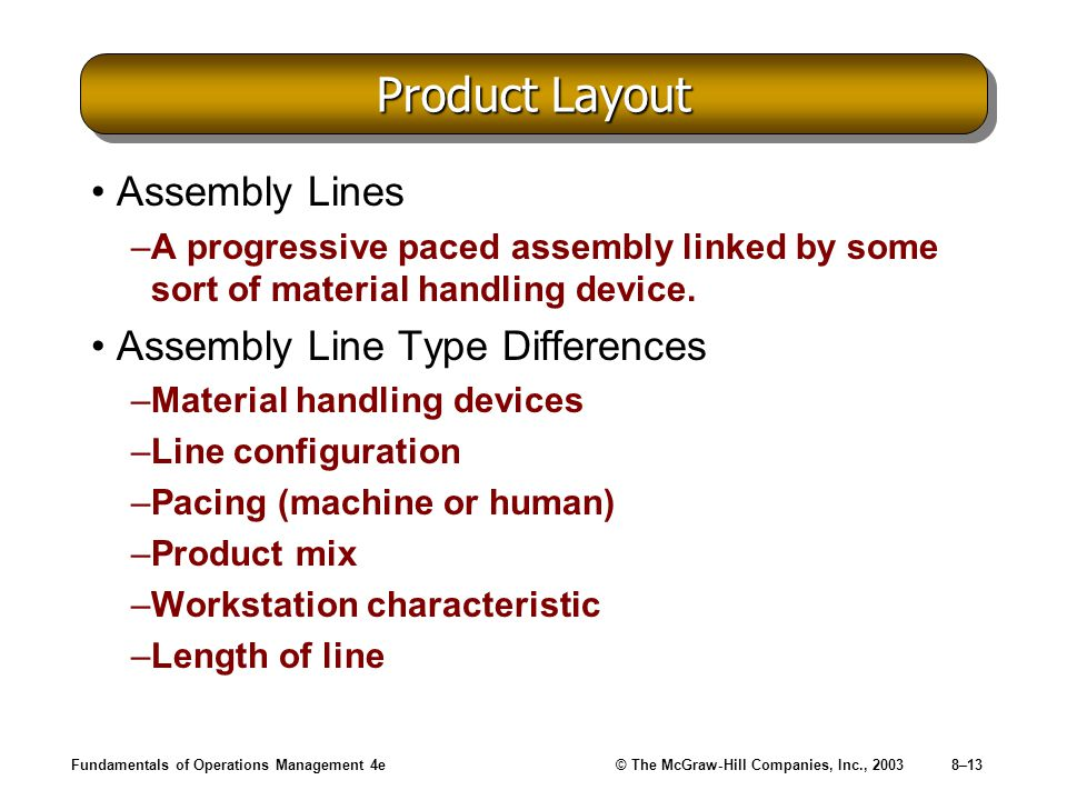 Fundamentals of Operations Management 4e© The McGraw-Hill Companies, Inc., 20038–13 Product Layout Assembly Lines –A progressive paced assembly linked by some sort of material handling device.
