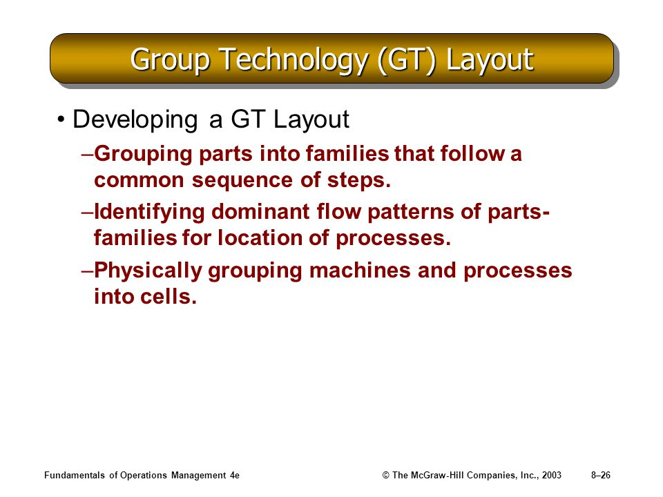Fundamentals of Operations Management 4e© The McGraw-Hill Companies, Inc., 20038–26 Group Technology (GT) Layout Developing a GT Layout –Grouping parts into families that follow a common sequence of steps.