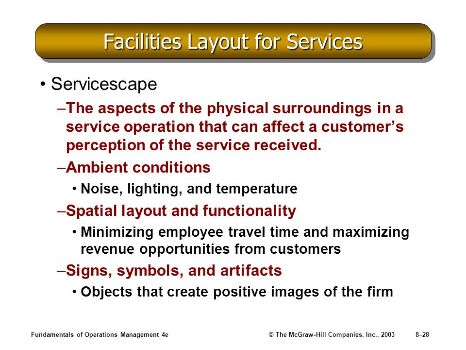 Fundamentals of Operations Management 4e© The McGraw-Hill Companies, Inc., 20038–28 Facilities Layout for Services Servicescape –The aspects of the physical surroundings in a service operation that can affect a customer's perception of the service received.