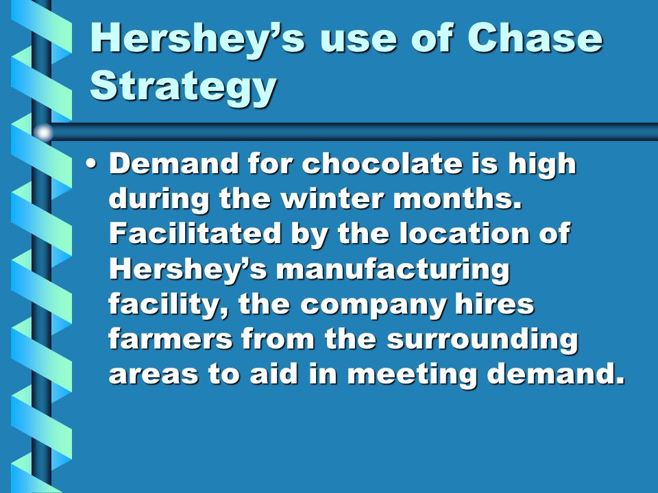 Hershey's use of Chase Strategy Demand for chocolate is high during the winter months. Facilitated by the location of Hershey's manufacturing facility