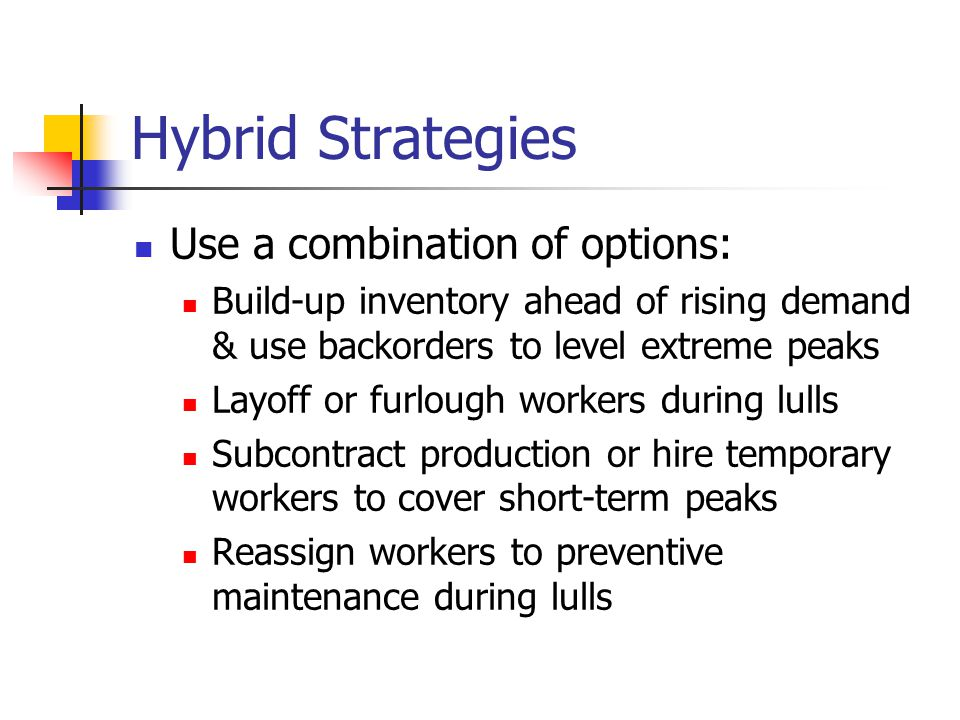 Hybrid Strategies Use a combination of options: Build-up inventory ahead of rising demand & use backorders to level extreme peaks Layoff or furlough workers during lulls Subcontract production or hire temporary workers to cover short-term peaks Reassign workers to preventive maintenance during lulls