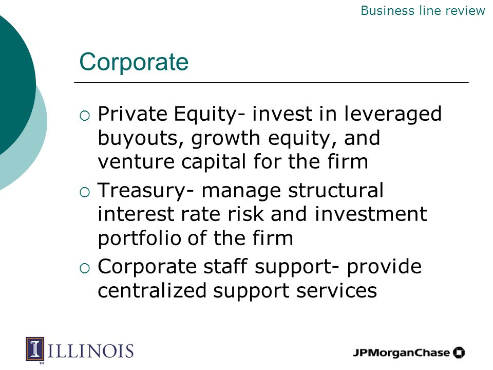 Corporate  Private Equity- invest in leveraged buyouts, growth equity, and venture capital for the firm  Treasury- manage structural interest rate risk and investment portfolio of the firm  Corporate staff support- provide centralized support services Business line review
