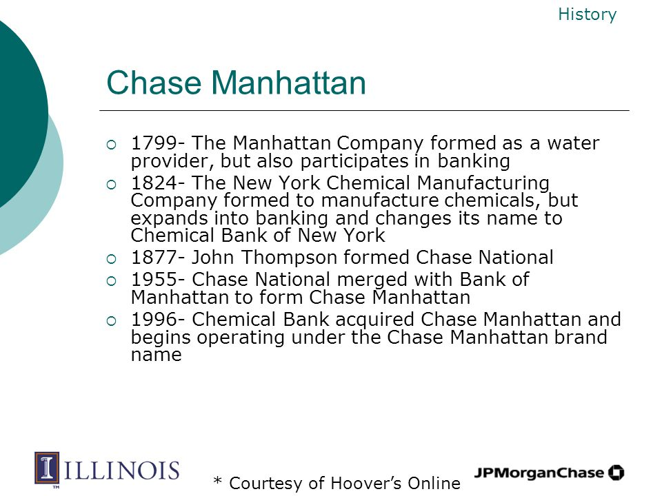 Chase Manhattan  1799- The Manhattan Company formed as a water provider, but also participates in banking  1824- The New York Chemical Manufacturing