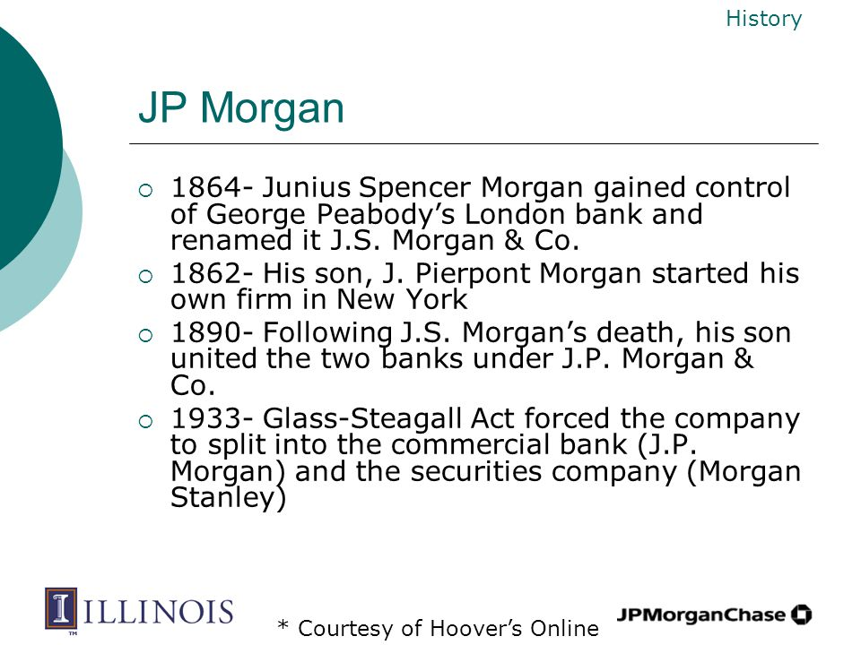JP Morgan  1864- Junius Spencer Morgan gained control of George Peabody's London bank and renamed it J.S. Morgan & Co.  1862- His son, J. Pierpont M