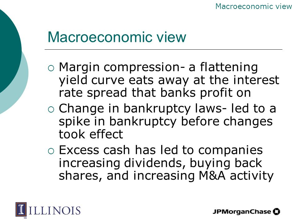 Macroeconomic view  Margin compression- a flattening yield curve eats away at the interest rate spread that banks profit on  Change in bankruptcy laws- led to a spike in bankruptcy before changes took effect  Excess cash has led to companies increasing dividends, buying back shares, and increasing M&A activity Macroeconomic view