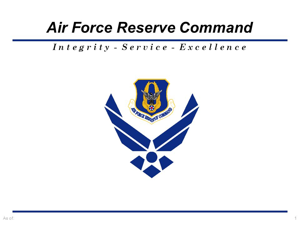 I n t e g r i t y - S e r v i c e - E x c e l l e n c e Air Force Reserve Command As of:2 Palace Chase Briefing TSgt Chris Mills Air Force Reserve Recruiter
