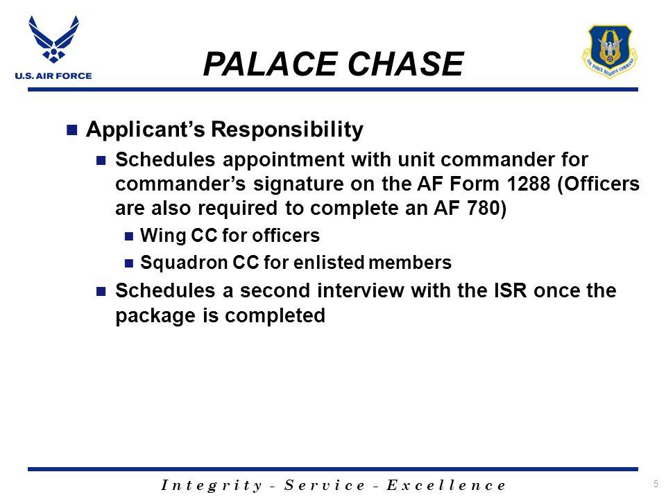 I n t e g r i t y - S e r v i c e - E x c e l l e n c e 6 PALACE CHASE Active Duty Losing Commander AFI 36-3205 Para.