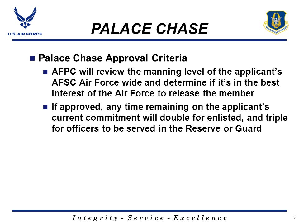 I n t e g r i t y - S e r v i c e - E x c e l l e n c e 10 Palace Chase Overview Early release program that allows active duty members to request transfer to an Air Reserve Component (ARC) Approved or Disapproved Palace Chase applications at base level are still elevated to Randolph AFPC owns the Palace Chase Program AFI 36-3205 is the governing instruction Application process takes approximately 7-8 weeks Member is released based on the best interest of the active duty force (manning statistics) PALACE CHASE