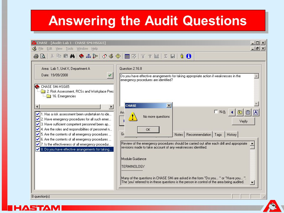 Answering the Audit Questions