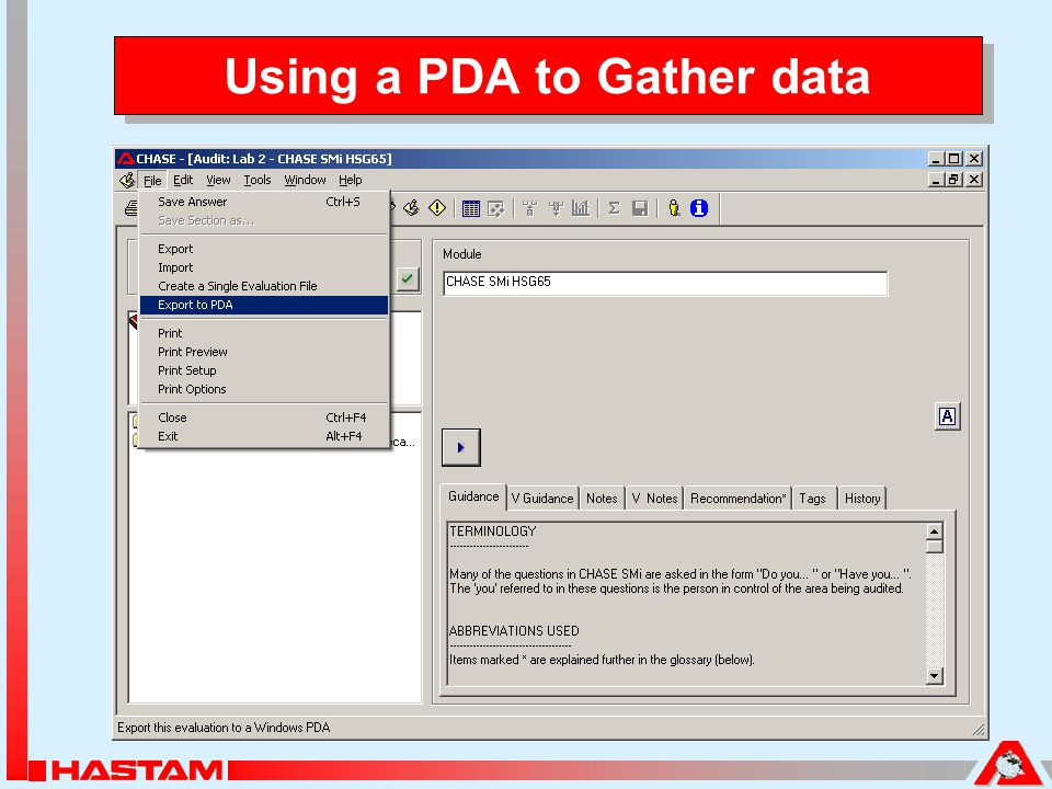 Using a PDA to Gather data