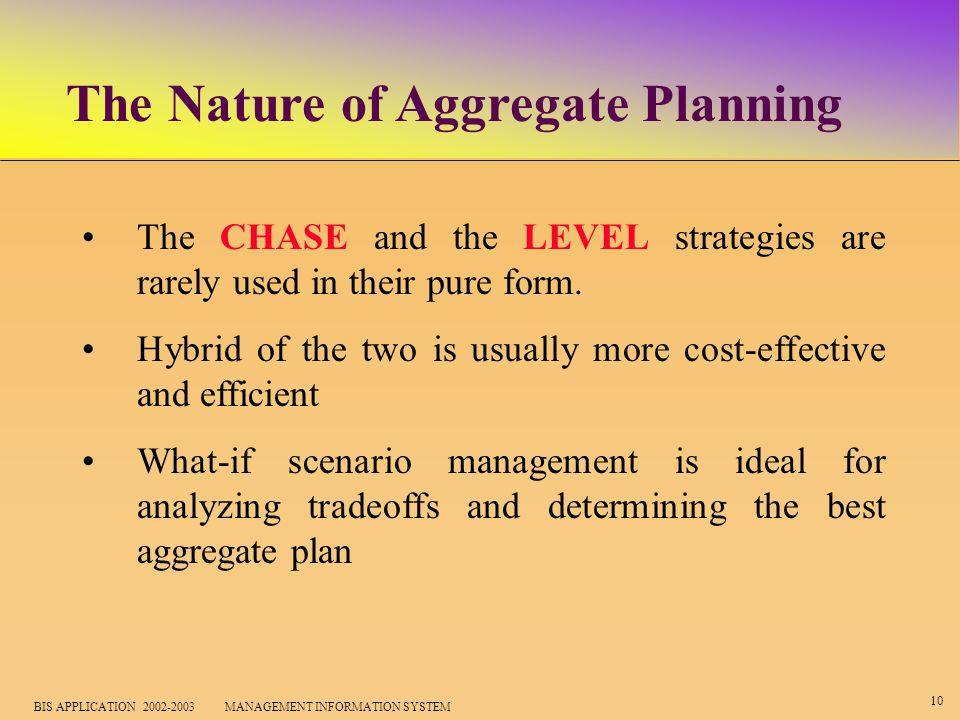 10 BIS APPLICATION 2002-2003 MANAGEMENT INFORMATION SYSTEM The Nature of Aggregate Planning The CHASE and the LEVEL strategies are rarely used in their pure form.