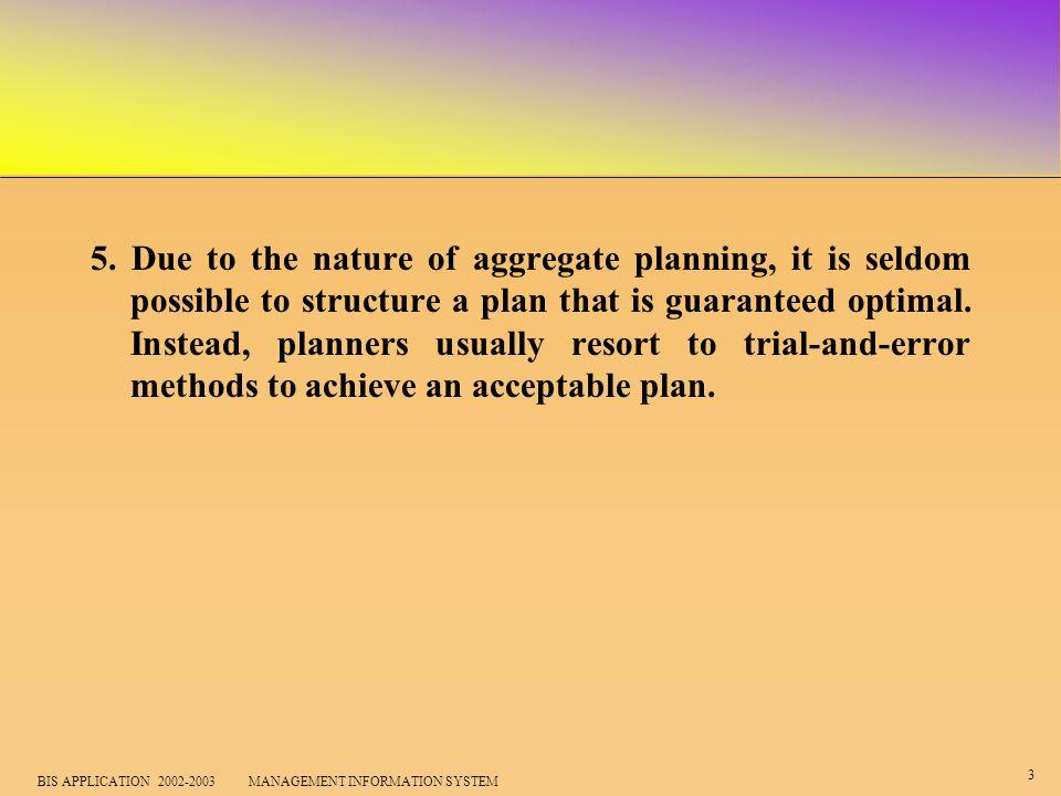 4 BIS APPLICATION 2002-2003 MANAGEMENT INFORMATION SYSTEM Objectives of aggregate planning 1.