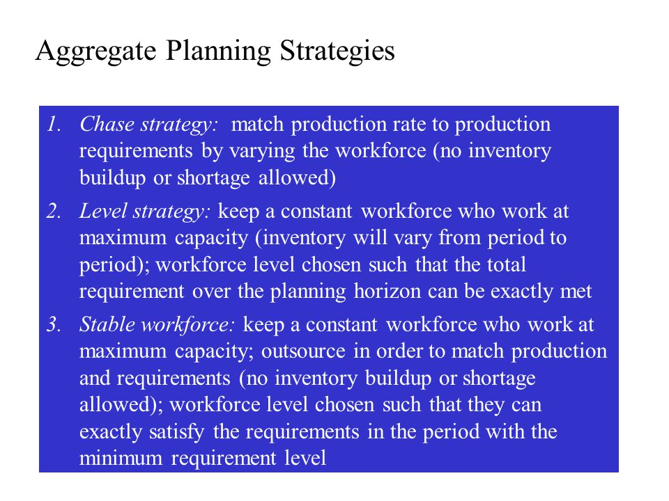 Plan 3: Stable strategy with outsourcing JANFEBMARAPRMAYJUN Production requirement 1,4001,5001,1009001,1001,600 Working days per month 221921 2220 Monthly production hours 4,7524,1044,536 4,7524,320 Monthly production level 950821907 950864 Monthly outsourcing level 450679193-150736 Monthly outsourcing cost 9,00013,5803,86003,00014,720 Monthly labor cost 19,00816 41618,144 19,00817,280 Number of workers = enough workers to cover requirements in April = 900*5/(21*8) = 27 workers (this is the no.