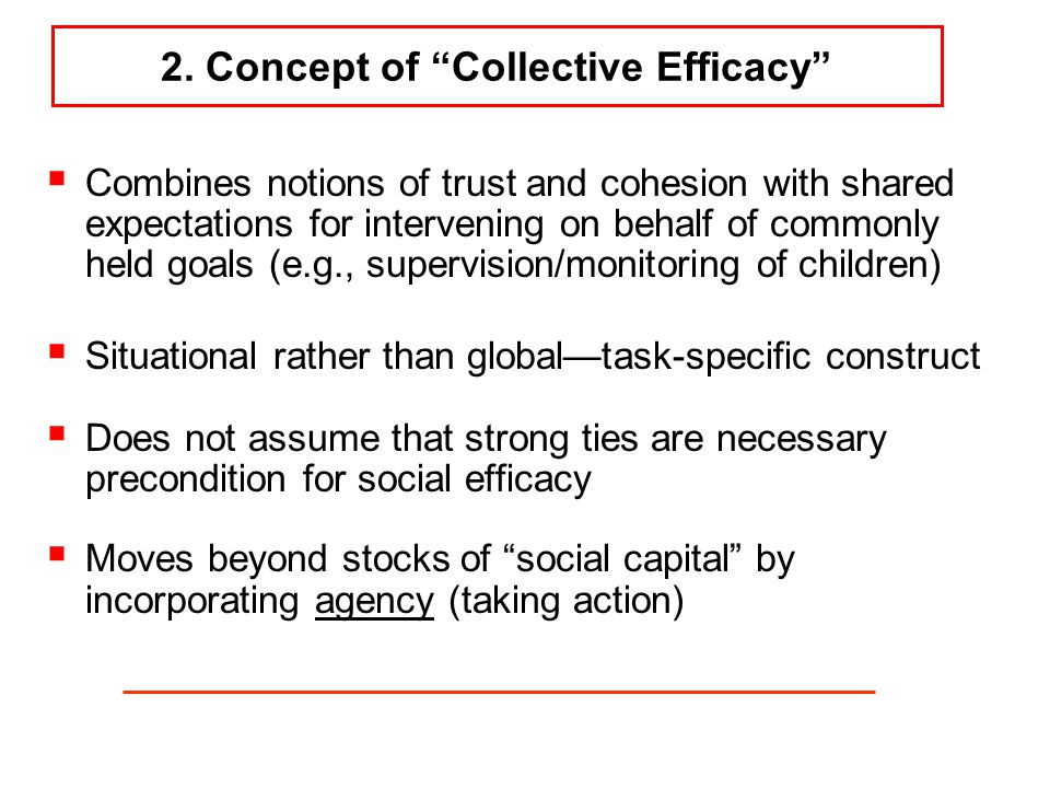 "2. Concept of ""Collective Efficacy""  Combines notions of trust and cohesion with shared expectations for intervening on behalf of commonly held goals"