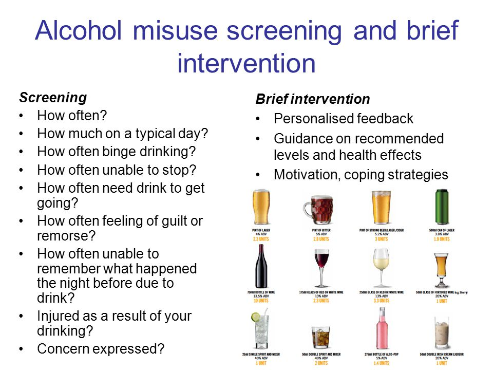 Alcohol misuse screening and brief intervention Screening How often.