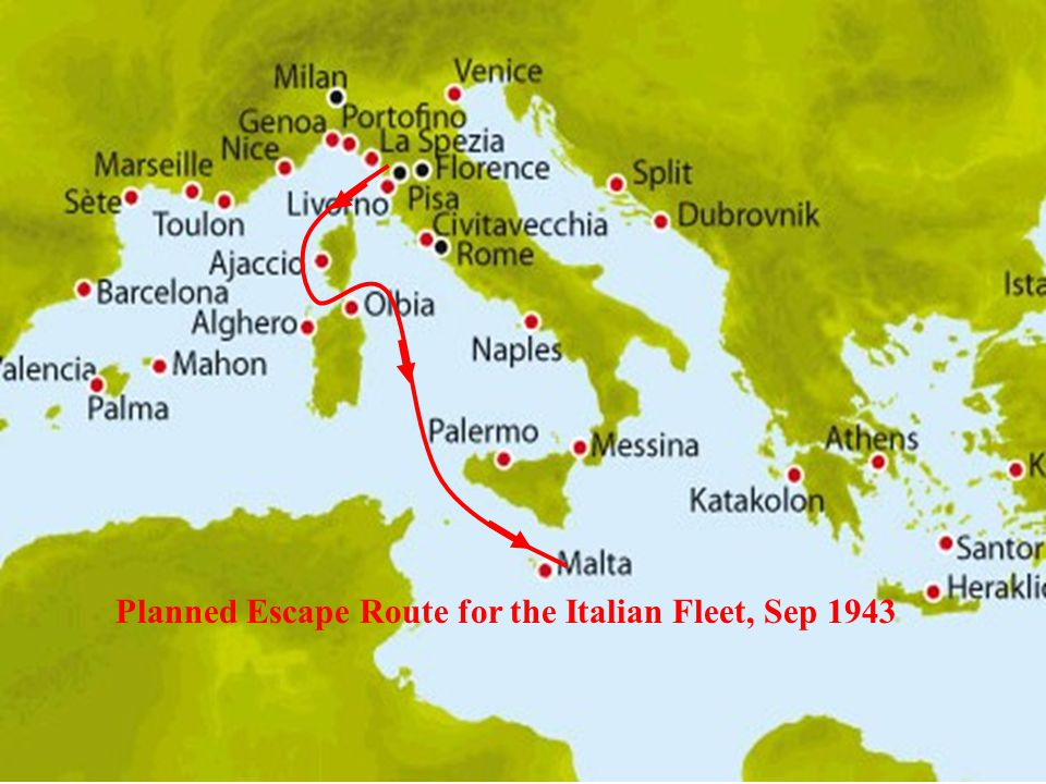 Planned Escape Route for the Italian Fleet, Sep 1943