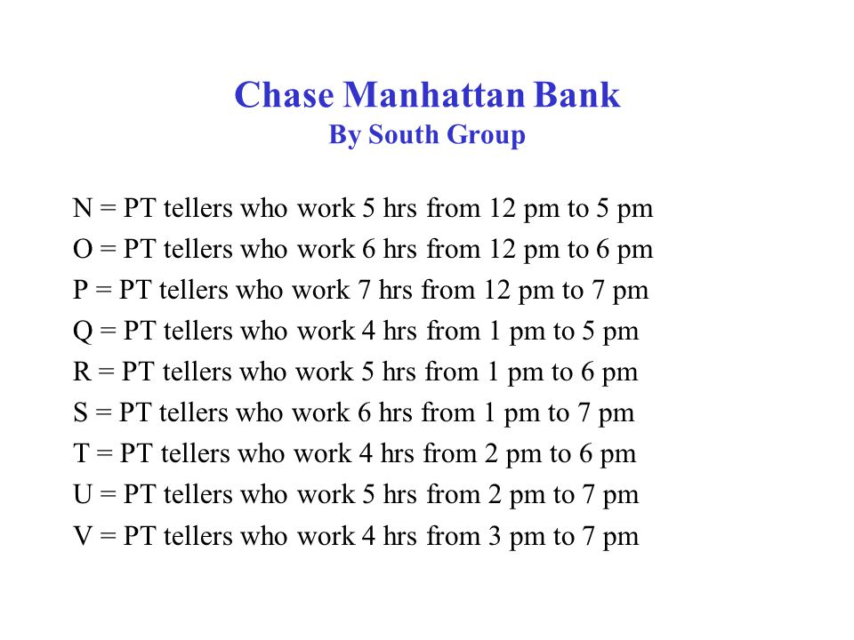Chase Manhattan Bank By South Group Objective: Minimize = (10.11)(7)F0 +[(10.11)(7)+8.08]F1 +[(10.11)(7)+(8.08)(2)]F2 +[(7.82)(4)][A+E+I+M+Q+T+V] +[(7.82)(5)][B+E+J+N+R+U] +[(7.82)(6)][C+G+K+O+S] +[(7.82)(7)][D+H+L+P]