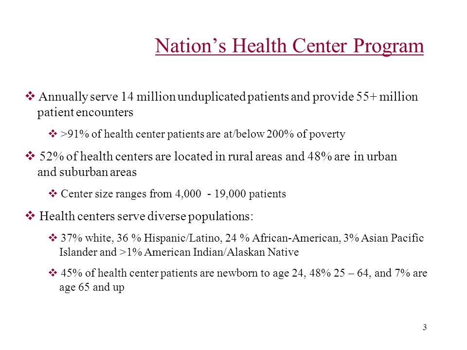 3 Nation's Health Center Program  Annually serve 14 million unduplicated patients and provide 55+ million patient encounters  >91% of health center patients are at/below 200% of poverty  52% of health centers are located in rural areas and 48% are in urban and suburban areas  Center size ranges from 4,000 - 19,000 patients  Health centers serve diverse populations:  37% white, 36 % Hispanic/Latino, 24 % African-American, 3% Asian Pacific Islander and >1% American Indian/Alaskan Native  45% of health center patients are newborn to age 24, 48% 25 – 64, and 7% are age 65 and up