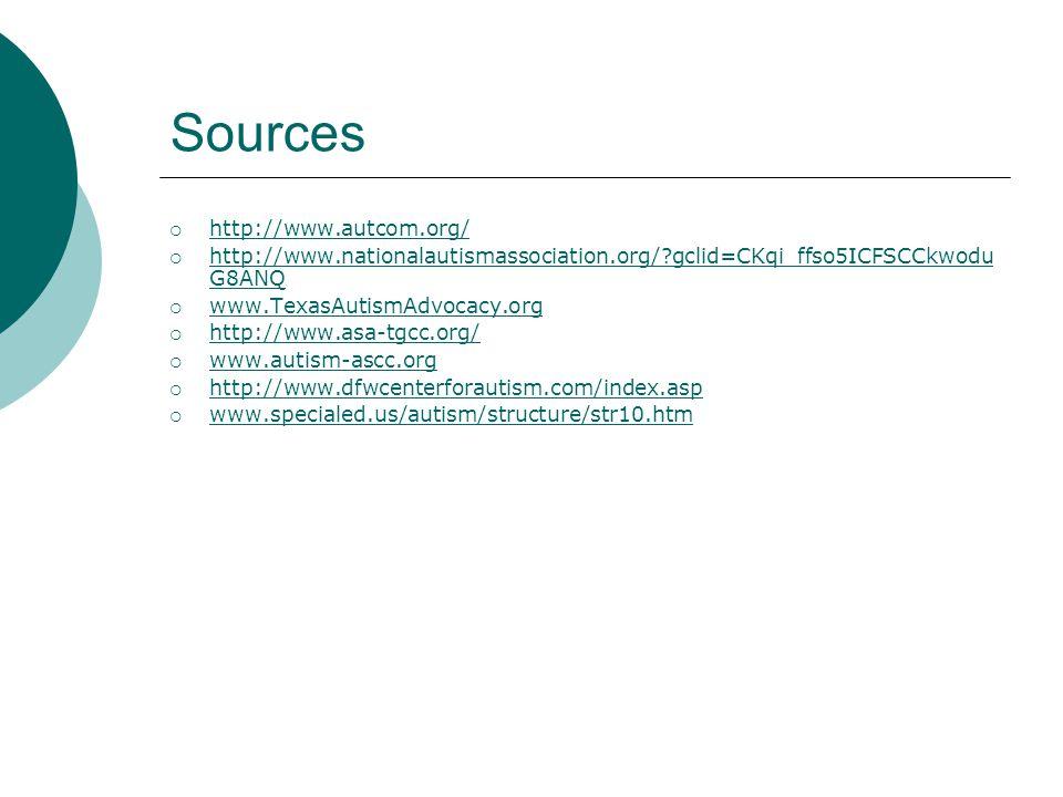 Sources  http://www.autcom.org/ http://www.autcom.org/  http://www.nationalautismassociation.org/?gclid=CKqi_ffso5ICFSCCkwodu G8ANQ http://www.natio