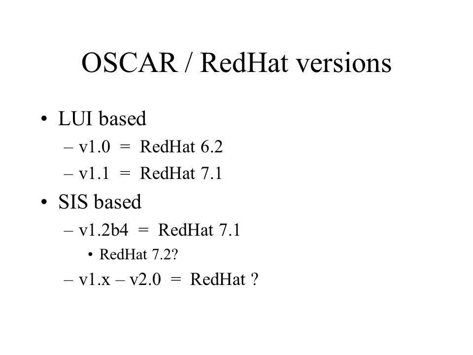 OSCAR / RedHat versions LUI based –v1.0 = RedHat 6.2 –v1.1 = RedHat 7.1 SIS based –v1.2b4 = RedHat 7.1 RedHat 7.2? –v1.x – v2.0 = RedHat ?