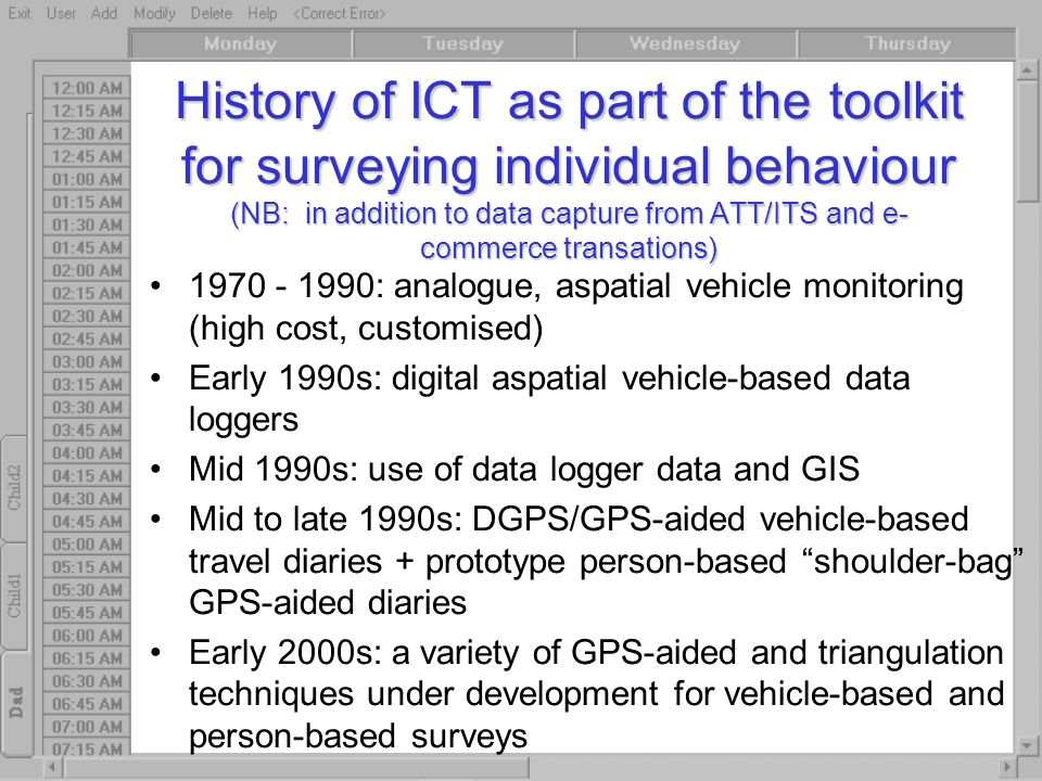 History of ICT as part of the toolkit for surveying individual behaviour (NB: in addition to data capture from ATT/ITS and e- commerce transations) 19