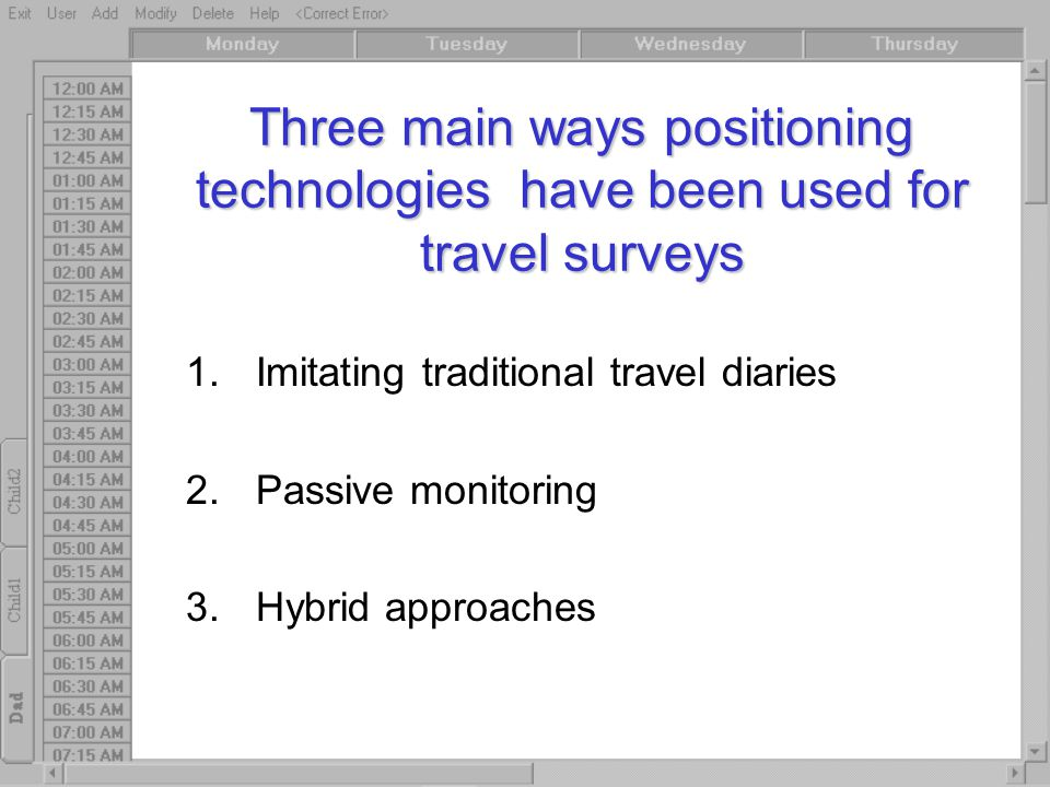 Three main ways positioning technologies have been used for travel surveys 1.Imitating traditional travel diaries 2.Passive monitoring 3.Hybrid approaches