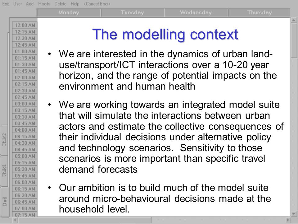 The modelling context We are interested in the dynamics of urban land- use/transport/ICT interactions over a 10-20 year horizon, and the range of pote