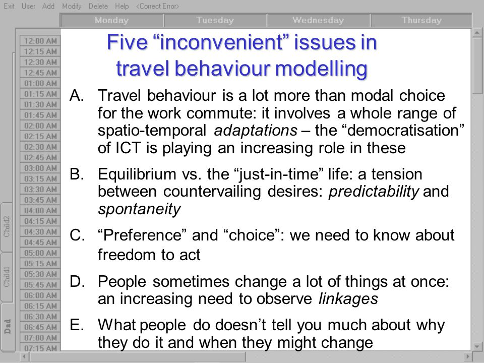 """Five """"inconvenient"""" issues in travel behaviour modelling A.Travel behaviour is a lot more than modal choice for the work commute: it involves a whole"""