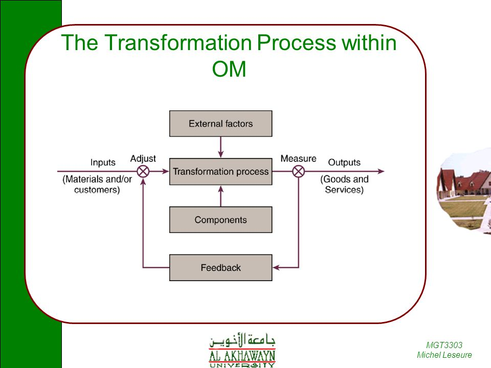 MGT3303 Michel Leseure The Transformation Process within OM