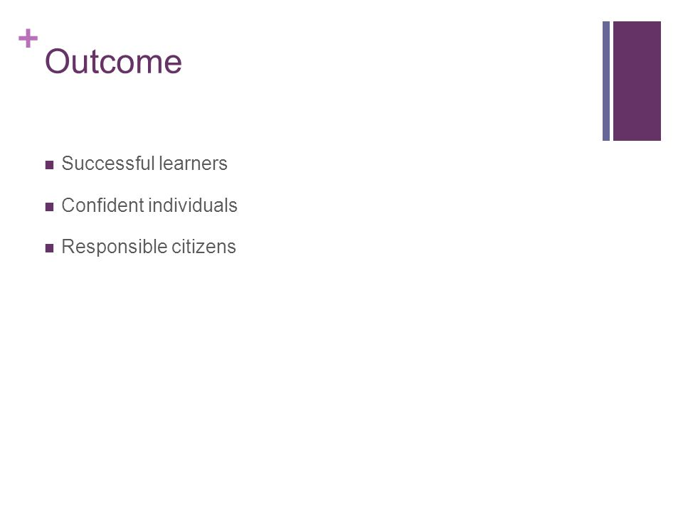 + Outcome Successful learners Confident individuals Responsible citizens